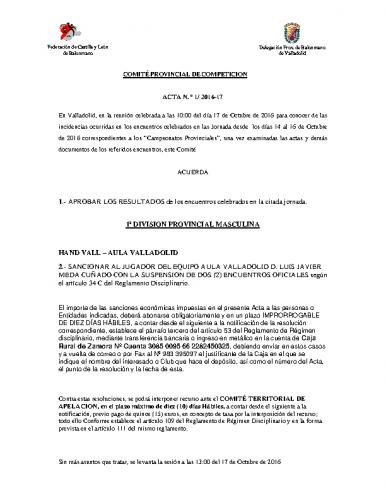 ACTA Nº1 COMITE DE COMPETICION PROVINCIAL DE VALLADOLID