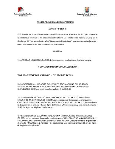 ACTA Nº2 COMITE DE COMPETICION PROVINCIAL DE VALLADOLID