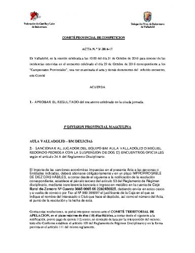 ACTA Nº3 COMITE DE COMPETICION PROVINCIAL DE VALLADOLID