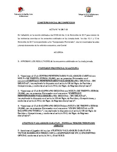 ACTA Nº4 COMITE DE COMPETICION PROVINCIAL DE VALLADOLID