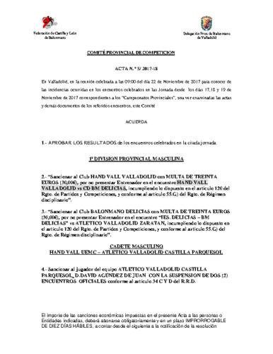 ACTA Nº5 COMITE DE COMPETICION PROVINCIAL DE VALLADOLID
