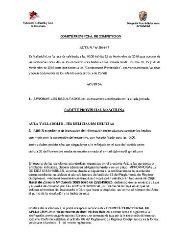 ACTA Nº6 COMITE DE COMPETICION PROVINCIAL DE VALLADOLID