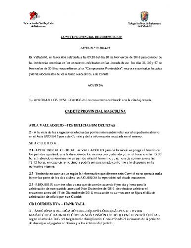 ACTA Nº7 COMITE DE COMPETICION PROVINCIAL DE VALLADOLID
