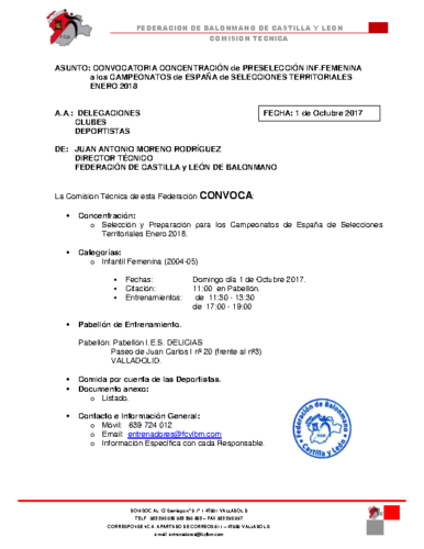CONV. INFANTIL FEMENINA 1 OCTUBRE 2017