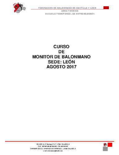 CONVOCATORIA CURSO MONITOR LEON AGOSTO 2017