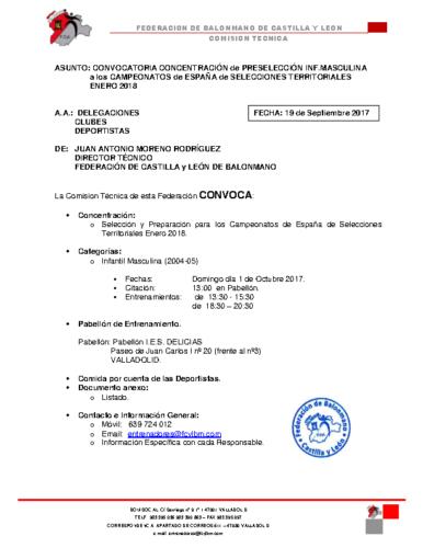 CONVOCATORIA INFANTIL MASCULINA 1 OCTUBRE 2017