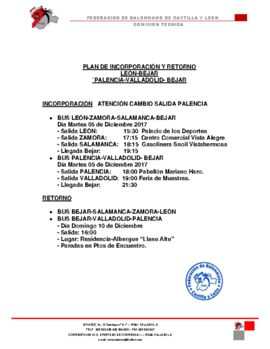 PLAN DE INCORPORACIÓN Y RETORNO CONCENTRACIÓN 5-10 DICIEMBRE 2017