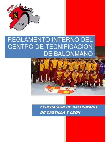 Reglamento Interno del Centro de Tecnificación de Balonmano – Edición 2014