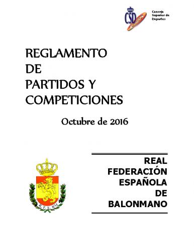 Reglamento de Partidos y Competiciones – Edición OCT 2016