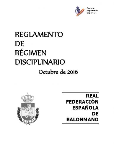 Reglamento de Régimen Disciplinario – Edición OCT 2016