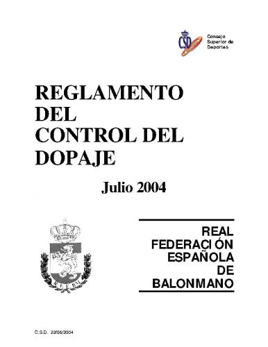 Reglamento del Control del Dopaje – Julio 2004
