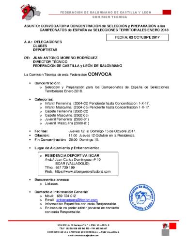 CONVOCATORIA INF CAD JUV 12-15 OCTUBRE 2017