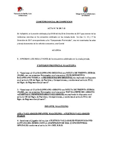 ACTA Nº8 COMITE DE COMPETICION PROVINCIAL DE VALLADOLID
