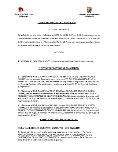 ACTA Nº10 COMITE DE COMPETICION PROVINCIAL DE VALLADOLID