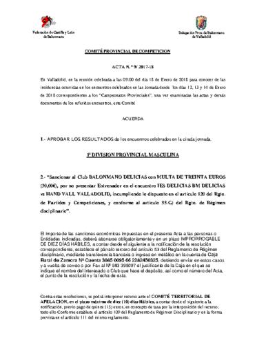 ACTA Nº9 COMITE DE COMPETICION PROVINCIAL DE VALLADOLID