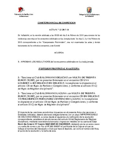 ACTA Nº12 COMITE DE COMPETICION PROVINCIAL DE VALLADOLID