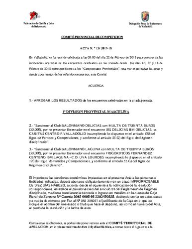 ACTA Nº13 COMITE DE COMPETICION PROVINCIAL DE VALLADOLID