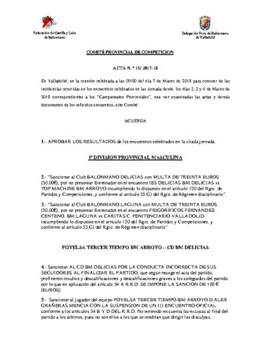 ACTA Nº15 COMITE DE COMPETICION PROVINCIAL DE VALLADOLID