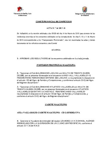 ACTA Nº16 COMITE DE COMPETICION PROVINCIAL DE VALLADOLID