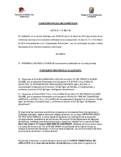 ACTA Nº17 COMITE DE COMPETICION PROVINCIAL DE VALLADOLID