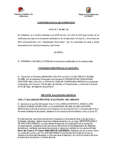 ACTA Nº18 COMITE DE COMPETICION PROVINCIAL DE VALLADOLID