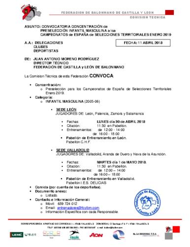 CONVOCATORIA INFANTIL MASCULINA 30-IV y 1-V- 2018