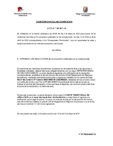 ACTA Nº20 COMITE DE COMPETICION PROVINCIAL DE VALLADOLID