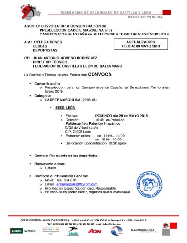 ACTUALIZACION 09-V-18 CONVOCATORIA CADETE MASCULINA 20-V-2018