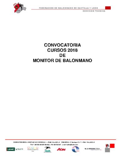 CONVOCATORIA 2018 CURSO MONITOR NIVEL 1