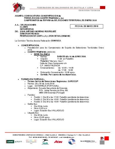 CONVOCATORIA CADETE FEMENINA CONCENTRACION y TORNEO PORTUGAL 28-V-2018