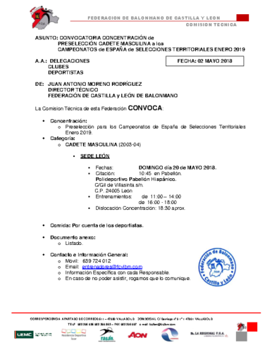 CONVOCATORIA CADETE MASCULINA 20-V-2018