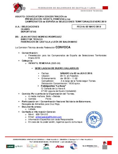 CONVOCATORIA INFANTIL FEMENINA 2-VI-2018