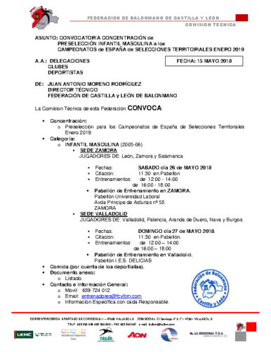 CONVOCATORIA INFANTIL MASCULINA 26-V y 27-V- 2018