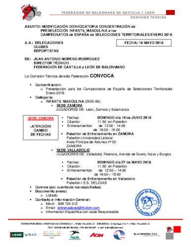 MODIFICACION 18-V-18 CONVOCATORIA INF MASC SEDE ZAMORA