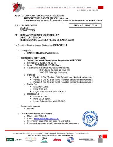 ACTUALIZACION 1-VI-18 CONVOCATORIA CADETE MASCULINA TORNEO PORTUGAL