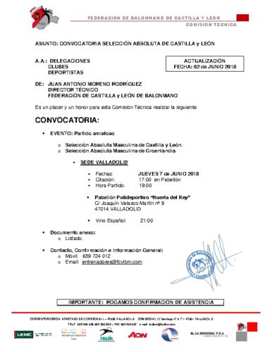 CONVOCATORIA SELECC ABSOLUTA CASTILLA y LEÓN ACTUALIZACION 02-VI-18