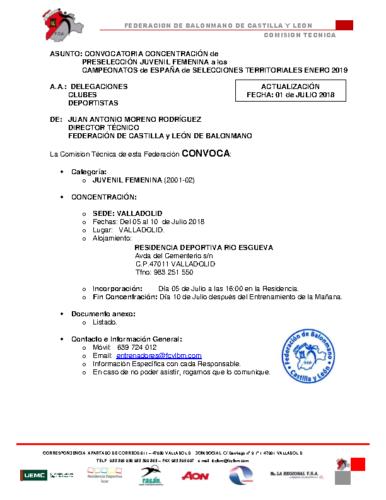 ACTUALIZACION 01-VII-18 CONVOCATORIA JUVENIL FEMENINA 5-10-VII-18