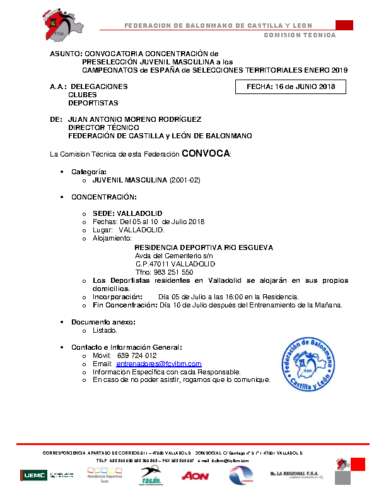 ACTUALIZACION 28-VI-18 CONVOCATORIA JUVENIL MASCULINA 5-10-VII-18