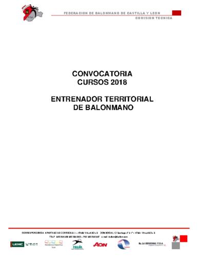 CONVOCATORIA 2018 CURSO TERRITORIAL NIVEL 2
