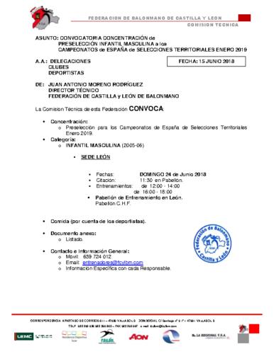 CONVOCATORIA INFANTIL MASCULINA 24-VI-2018