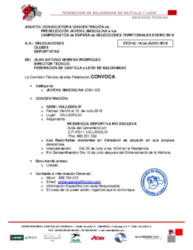 CONVOCATORIA JUVENIL MASCULINA 5-10-VII-18