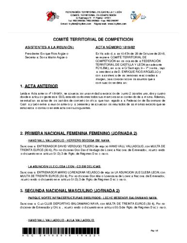 ACTA Nº 2 COMITÉ TERRITORIAL DE COMPETICIÓN