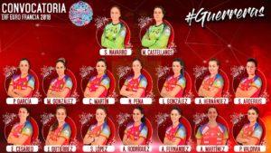 Grupo de jugadoras seleccionadas para el Europeo de Francia.