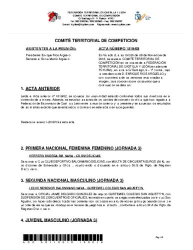 ACTA Nº 3 COMITÉ TERRITORIAL DE COMPETICIÓN