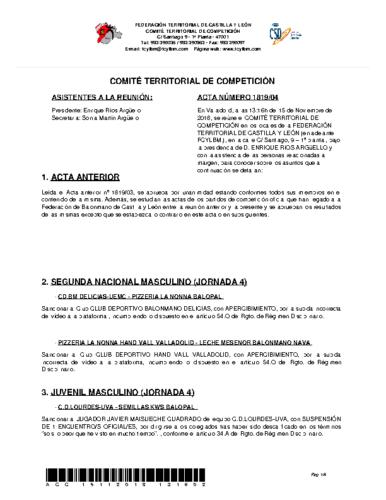 ACTA Nº 4 COMITÉ TERRITORIAL DE COMPETICIÓN