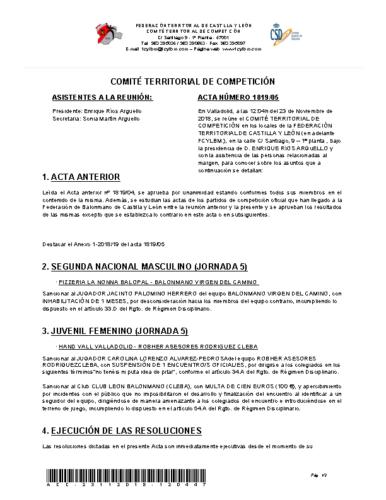 ACTA Nº 5 COMITÉ TERRITORIAL DE COMPETICIÓN