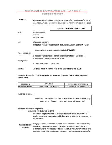 LISTA CONVOCATORIA CADETE FEMENINA 6-9 DICEMBRE