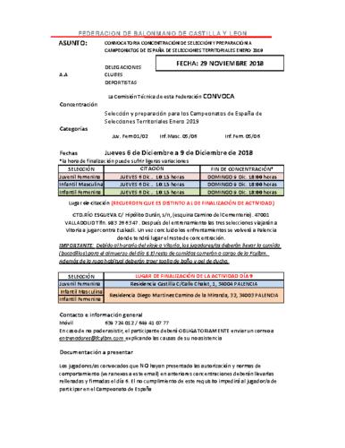 LISTA CONVOCATORIA PALENCIA INF.FEM-INF.MASC-JUV.FEM.