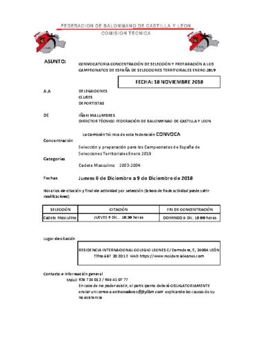 LISTA CONCENTRACIÓN CADETE MASC. LEON 6-9 DICEMBRE