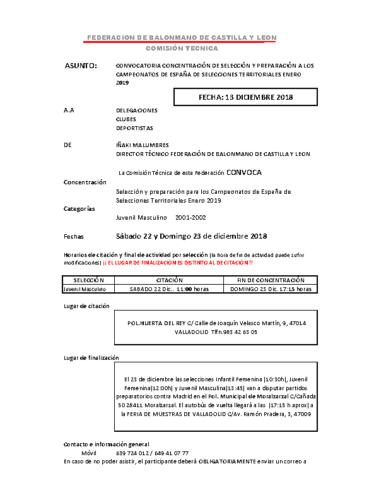 LISTA CONVOCATORIA JUVENIL MASC 22-23 DIC. ISCAR